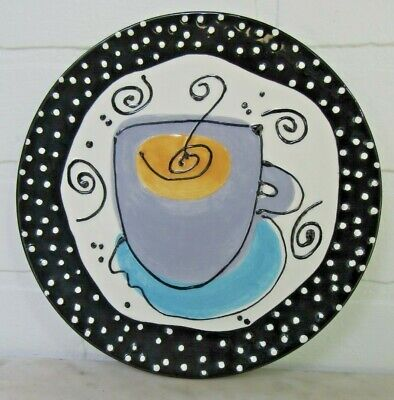 """With Love Joanne Plate Coffee Cafe' Au Lait Cup Blue Black White 8"""" Art Studio"""