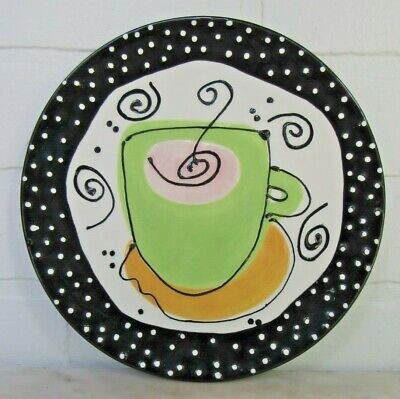 """With Love Joanne Plate Coffee Cafe' Au Lait Cup Green Black White 8"""" Art Studio"""
