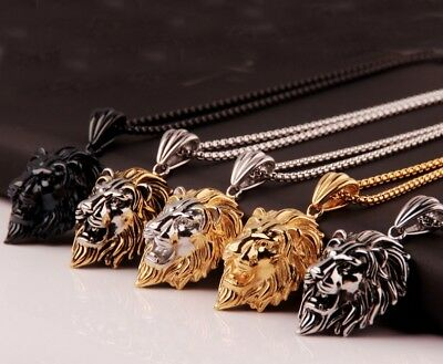 Mens Heavy 316L Stainless Steel Lion Head Pendant Necklace Chain Biker Jewelry