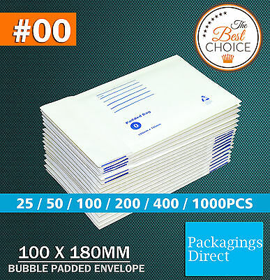 Bubble Mailer #00 White 100X180MM #0 Padded Bag Cushioned Envelope - Best Price