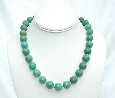 "Vintage Chinese Hand Knotted Natural Turquoise Big Bead 18"" Necklace Rare Clasp"