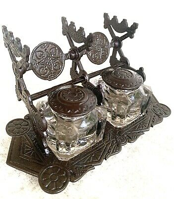Antique Victorian Eastlake-Judd-Cast Iron-Bronzed-Double Inkwell-Gothic-1879