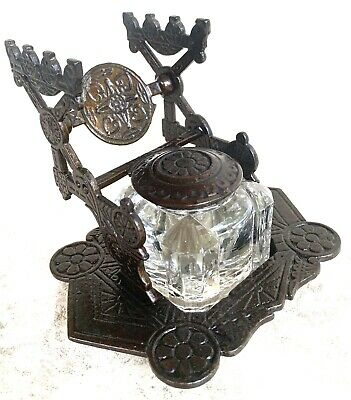 Antique Victorian Eastlake-Judd-Cast Iron-Bronzed-Inkwell-Gothic-1879