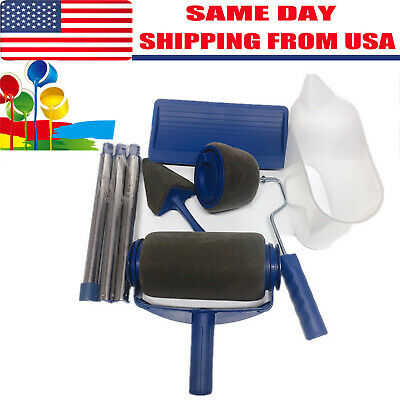 DIY Paint Pro Roller Wall Brush Painting Room Handle Edger Flocked Tools 6Pcs US