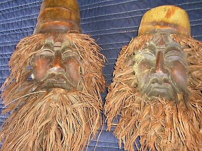 4 Vintage Carved Wood Wooden Head Faces