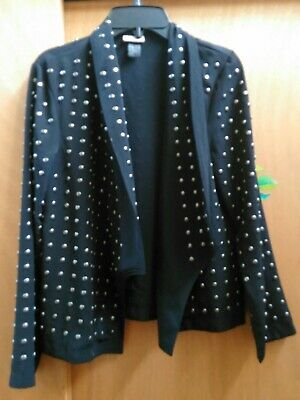 Pre-owned H&M Women's Studded Black Jersey Jacket  Sz small