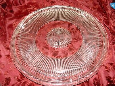 Vintage Clear Pressed Glass Footed Cake Platter - 12 inch Diameter - Raised Ribs