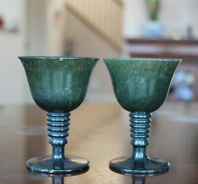 A pair of Chinese spinach green jade cups 294