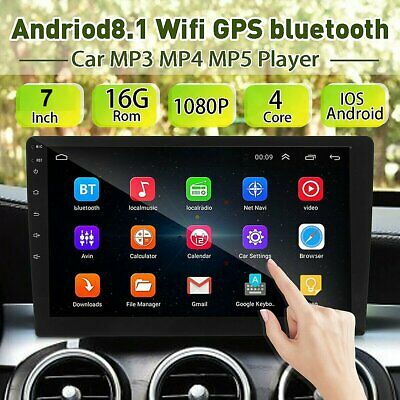 2Din 7in Android 8.1 Quad Core GPS Navi WiFi Car Stereo MP5 Player FM Radio +Cam