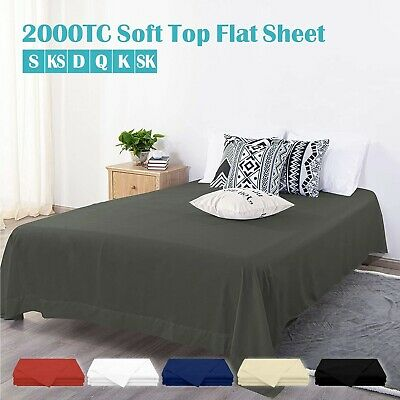 Luxury 1000TC Soft Flat Top Sheets Single/K single/Double/Q/K/SK Bed No Fitted