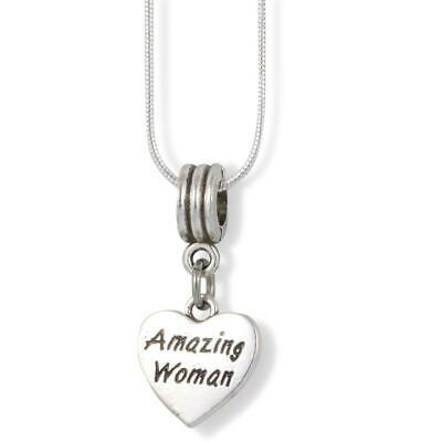 EPJ Amazing Woman Text on a Heart Charm Snake Chain Necklace