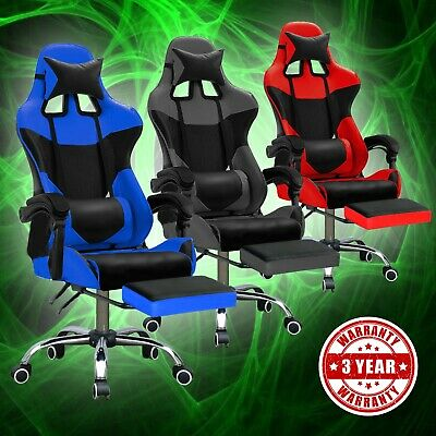 Recliner Gaming Chair Executive Computer Office Racing Chairs Seat Leather Racer