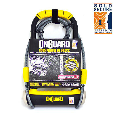 OnGuard Pitbull DT 8005 Bicycle D/U Lock with Security Cable - Sold Secure Gold