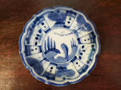 koi03597 Small plate porcelain antique Japanese Imari ware late Edo 19C