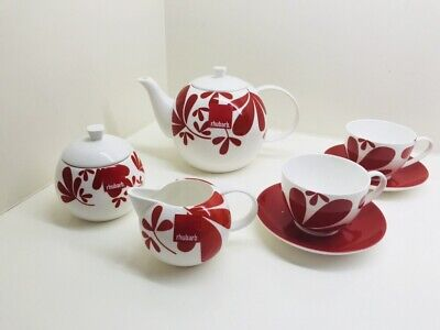 RHUBARB bone china, red white tea set: teapot, sugar bowl, creamer, cup saucer
