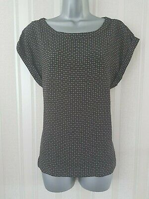 Ladies Womens Ex M&S Blouse Tunic Top Short Sleeve Print Shirt Work Office Size