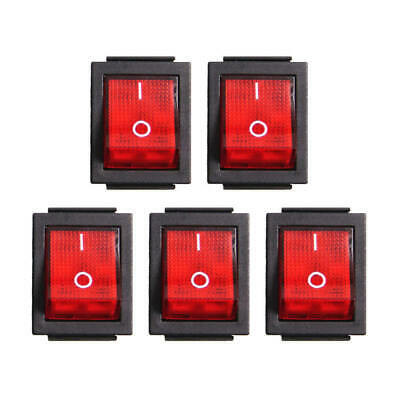 5PCS Red Neon On-off Rocker Switch AC16A/250V AC20A/125V Plus Water Cov JXI
