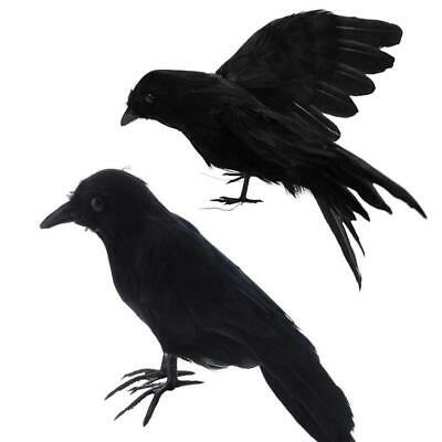 Halloween Artificial Crow Black Bird Raven Prop Scary Decoration For Party Event