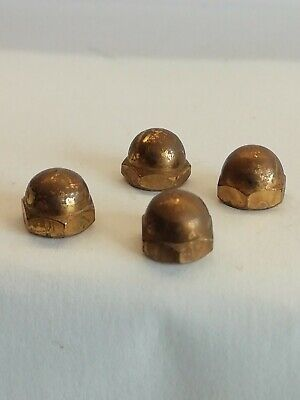 4x   reclaimed Clock Feet/TEA caddy Brass feet /nut 7x7 mm #22