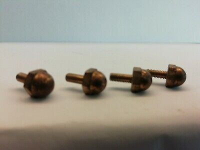 4 x reclaimed Clock Feet/ TEA caddy  Brass feet Approx 7mm x 7mm X 7MM SCREW #21