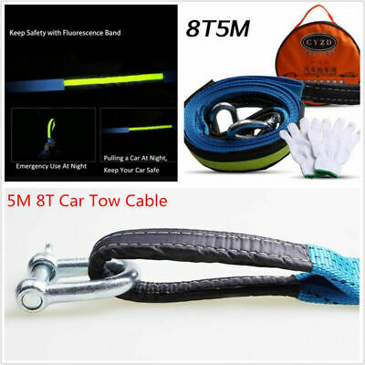 Car Tow Cable Emergency Tow Rope Heavy Duty Straps 5M 8T w/Hooks Warning Glow &