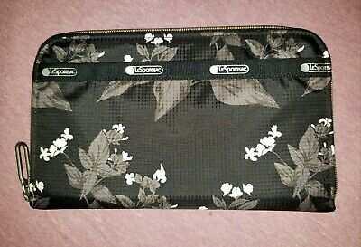 LeSportsac Lily Classic Black Floral Zip Around Full Size Wallet-NWOT