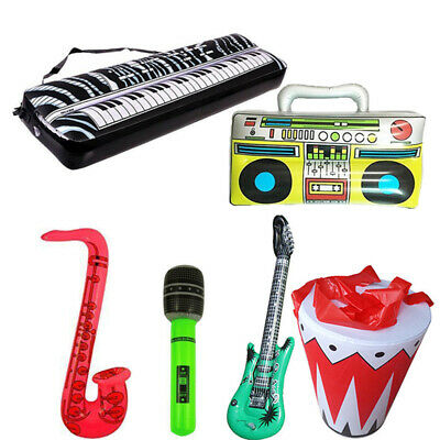 Inflatable Musical Kids Blow Up Microphone/Guitar/Drum/Piano Birthday Party Toy