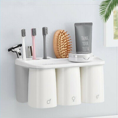 Magnetic Wall Mount Gargle Cup Rack Family Set Toothbrush Holder Lovers Gift CA