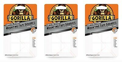 3x Gorilla Mounting Double Sided Sticky Fixers Pads Tape Squares - 2.5cm x 2.5cm