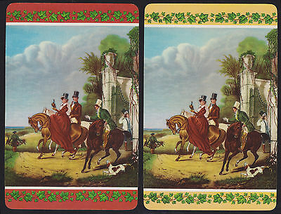 2 Single VINTAGE Swap/Playing Cards HORSES PEOPLE DOG BIRD ID 'HAWKING HH-8-6'