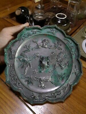 China bronze mirror Tang dy flower&bird insect motif Rhombic pattern mirror