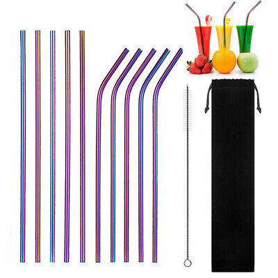 Rainbow Metal Drinking Straws Stainless Steel Drinks Straw Cleaner Reusable Bar