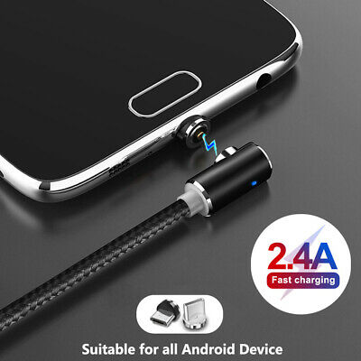 TOPK L-Bend Magnetic Braided LED Charging Cable For Micro USB Type-C Android LG