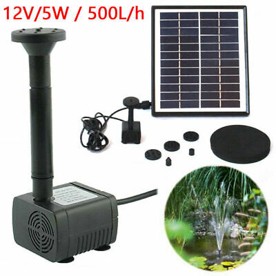 5W 500L/H Solar Powered Water Pump Garden Pool Pond Fish Aquarium Fountain L6H3U