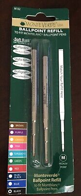 MONTBLANC BY MONTEVERDE BALLPOINT MEDIUM Point Refill BLACK 2 Pack NEW M132