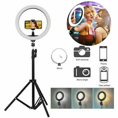 LED Ring Light Studio Photo Video Dimmable Lamp Tripod Stand Camera Phone S8X1W