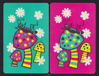 2 Single VINTAGE Swap/Playing Cards RETRO BUGS SMILEY ANT TOADSTOOLS FLOWERS