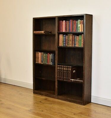 ART DECO LIMED OAK OPEN ADJUSTABLE BOOKCASE Antique
