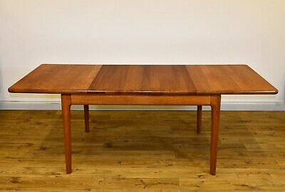 VINTAGE SOLID TEAK DANISH EXTENDING DINING TABLE BY GLOSTRUP Mid-Century