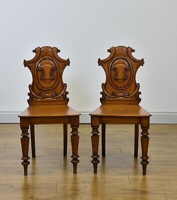 Antique Pair Of Golden Oak  Shield Back Hall Side Chairs