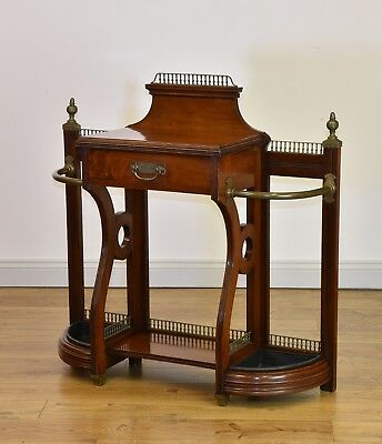 Late Victorian Walnut & Brass Mounted Hall Stand By James Shoolbred