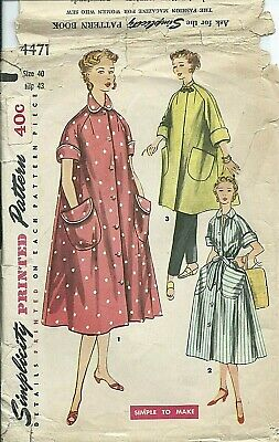 S 4471 sewing pattern 50's kimono sleeve ROBE in 2 lengths HOUSECOAT sew size 18