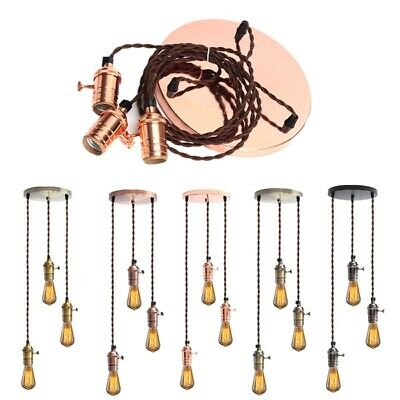 E27 Vintage Copper Pendant Ceiling Light Lamp Holder Hanging Lampshade Socket Fi
