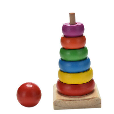 Rainbow Tower Ring Wooden Stacking Stack Up Kid Baby Educational Toy  J7