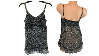 S - Black Print Sheer Ruffle Baby Doll Sleep Cami Top - EXPRESS