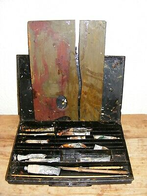 Vintage Metal Oil Paint Box Assorted Contents & Palette Decorative Display