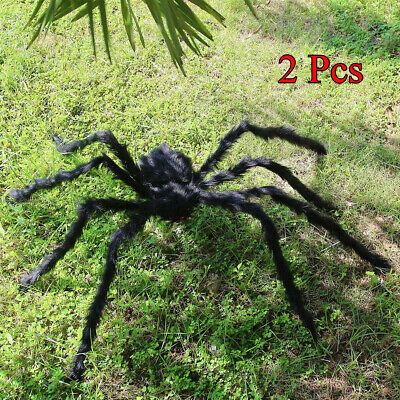 2Ps 200CM/6Ft Scary Plush Giant Spider Decors Halloween Haunted House Grass Prop