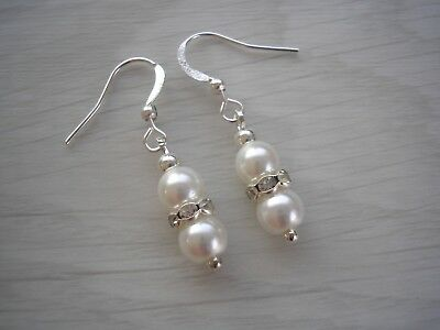 2r Pearl & Diamante Drop Earrings for women girls Bridal Bridesmaid Wedding Gift