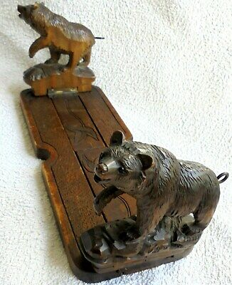 Very Rare Carved Wooden Black Forest Bear Sliding Book Shelf. Good Condition.