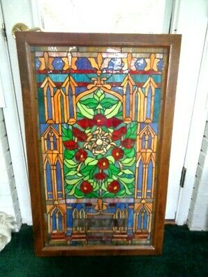"Vintage Wood Framed Leaded Stained Glass Window Hanging 37"" x 23""  #2  (65)"